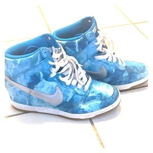 Nike blue and white womens high top sneakers